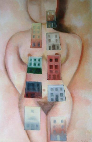 Town Secrets  2008  60 x 80 cm Oil on Canvas