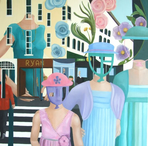 Three Friends on the Town  2010  70 x 70 cm  Oil on Canvas