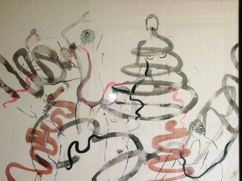 The Dancers  2006  40 x 50 cm  Ink, Pencil, Oil on Paper