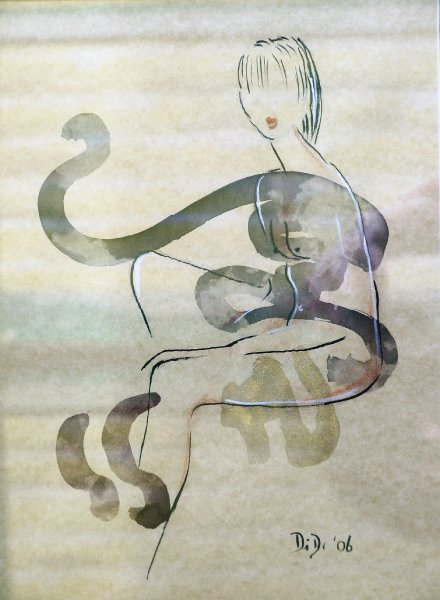 Nude 3  2007 20 x 30 cm  Ink, Pencil, Oil on Paper  SOLD