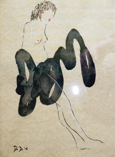 Nude 10  2007  20 x 30 cm  Ink, Pencil, Oil on Paper  SOLD