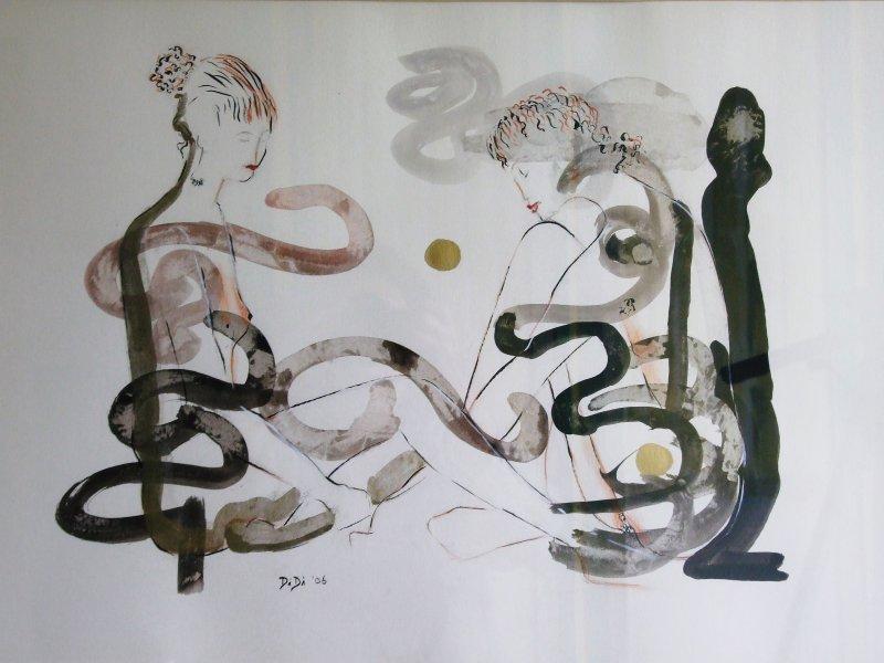 Secrets  2007  40 x 50 cm  Ink, Pencil, Oil on Paper