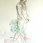 "Les Girls "" Olwyn""  2010  60 x 80 cm  Ink, Pencil, Oil on Paper"