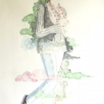 """Les Girls """"Nieve""""  2010  60 x 80 cm  Ink, Pencil, Oil on Paper"""