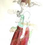 "Les Girls ""Brid""  2010  60 x 80 cm  Ink, Pencil, Oil on Paper"