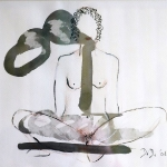 Nude 6  2007  20 x 30 cm  Ink, Pencil, Oil on Paper  SOLD