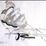Nude 8 2007  20 x 30   Ink, Pencil, Oil on Paper  SOLD