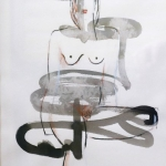 Nude 9  2007  20 x 30 cm  Ink, Pencil, Oil on Paper  SOLD