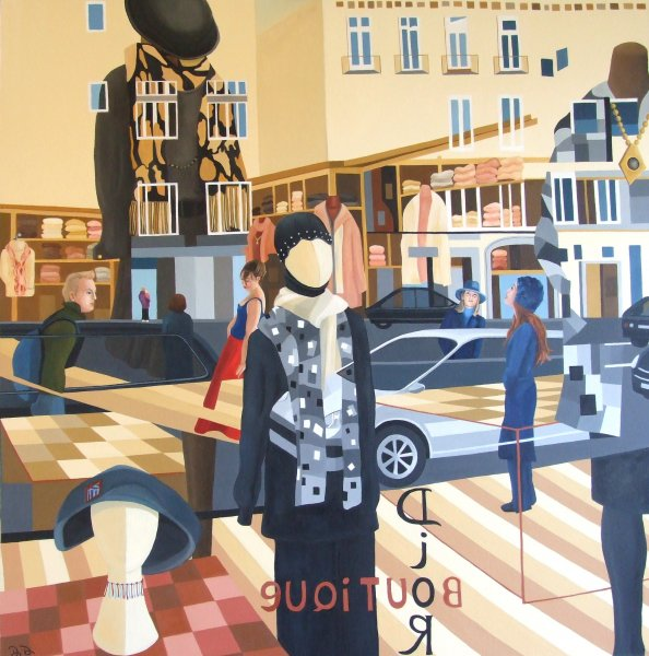 UpTown Girl  2011  100 x 100 cm Oil On Canvas SOLD